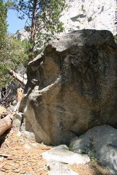 Brightside boulder. <br> &quot;Mr. Brightside&quot; climbs the center face past the large rail.