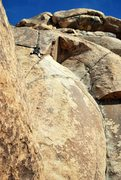 Rock Climbing Photo: JB after traversing on Pope's Crack