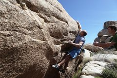Rock Climbing Photo: Mike makes the long move to the crimp on Tips Be G...