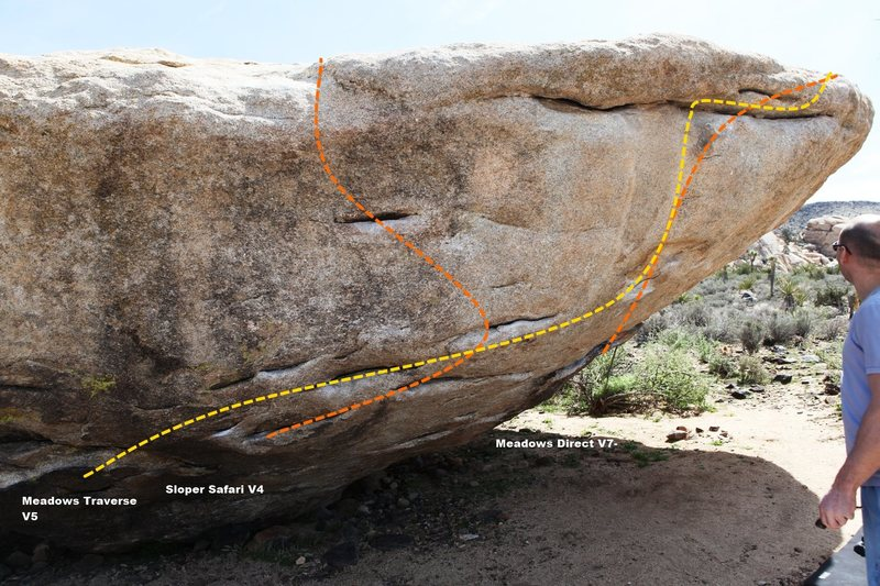 Rock Climbing Photo: Meadow Boulder North West Right Topo