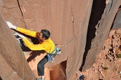 Rock Climbing Photo: Jay Brown cruxing trying to get gear in!