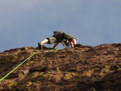 Rock Climbing Photo: Near the top of Mr. Jibbers. Nice warm up.