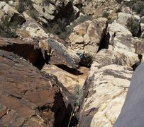 Rock Climbing Photo: Looking down at the belay ledge from above the bul...
