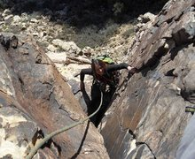 Rock Climbing Photo: Good climbing on varnished rock in the main dihedr...
