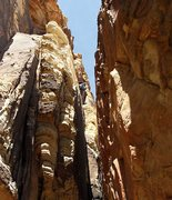 Rock Climbing Photo: Point of decision-- up and left to unprotected fac...