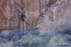 Rock Climbing Photo: Working out the crux sequence of the Moonbeam Crac...