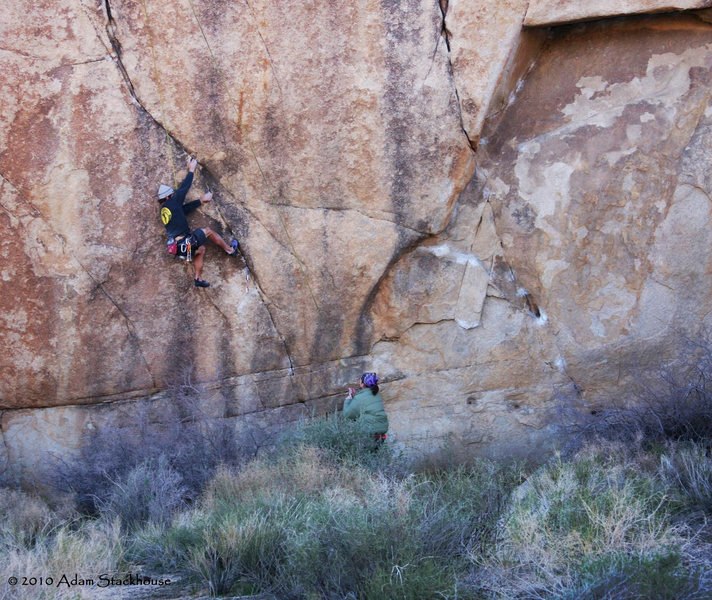 Rock Climbing Photo: Trying to hold on for the big reach on the Moonbea...