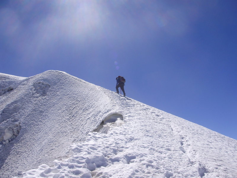 Less than 100 vertical feet from the summit!  January 2009