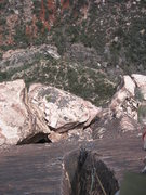 Rock Climbing Photo: Looking down the crack on pitch 6, You can see the...