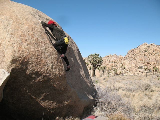Craig at the crux of Use What I Got (V2), Joshua Tree NP<br>