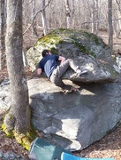"Rock Climbing Photo: Steve Lovelace on ""Balanced Block Mantle Left..."