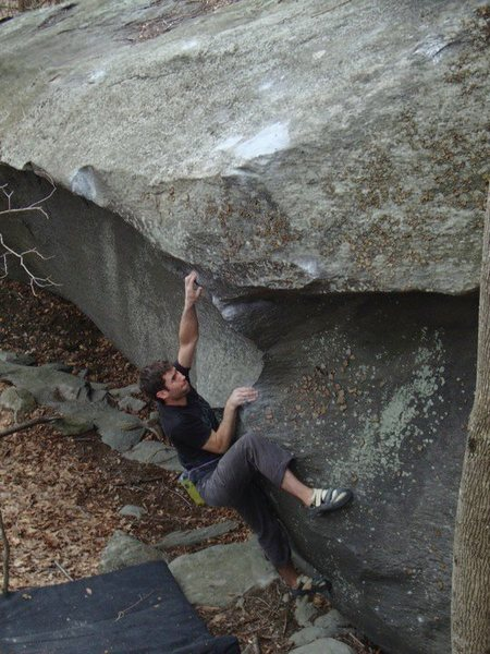 "Aaron Parlier with the second ascent of ""Thews"" (V-5) the thews boulder, GHSP."