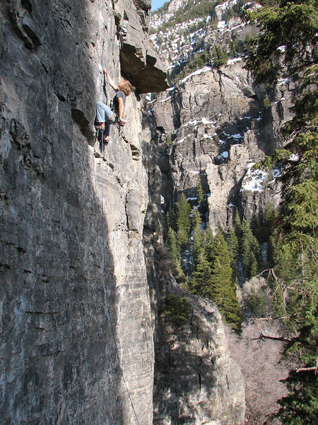 On  <em>Step Right Up</em>, Aaron Child eyeing the crux.