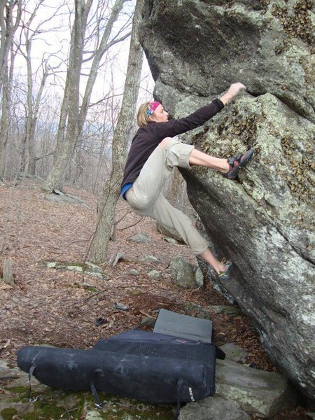 "Travis Melin on ""Periscope"" (V-3) on the Ranger Boulder, Contact Station Area, GHSP"