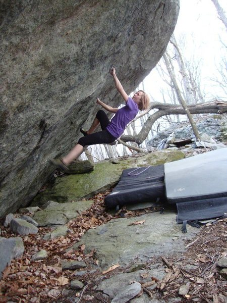 "Vanessa Keller on ""True Grit"" (V-5+) on the True Grit Boulder, Contact Station Area, GHSP"
