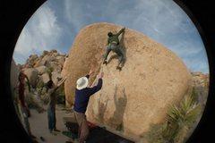 Rock Climbing Photo: Sticking the hard throw