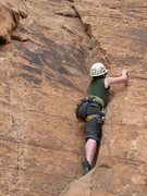 Rock Climbing Photo: Heather on the 5.7 in School Room