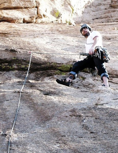 Rock Climbing Photo: Starting up The Peacemaker, Cochise Stronghold