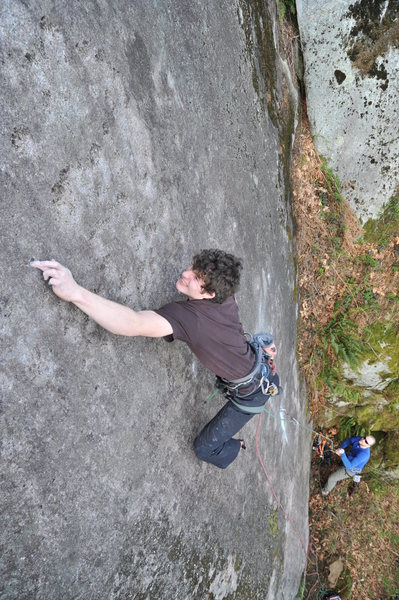 Rock Climbing Photo: The second crux, deadpoint from a mono crimp to a ...