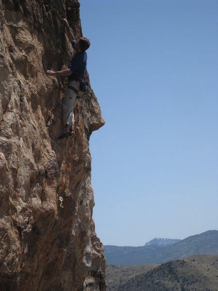 Jimbo making the last hard move to the best jug on the route (SPF 12).