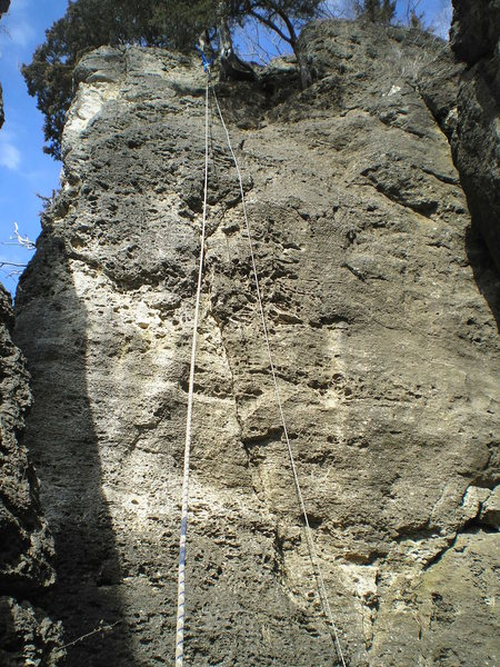a look at double overhang. Follow the crack