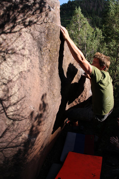 Rock Climbing Photo: Noah Sheedy 'Pine Tree Right Arete' (V2).
