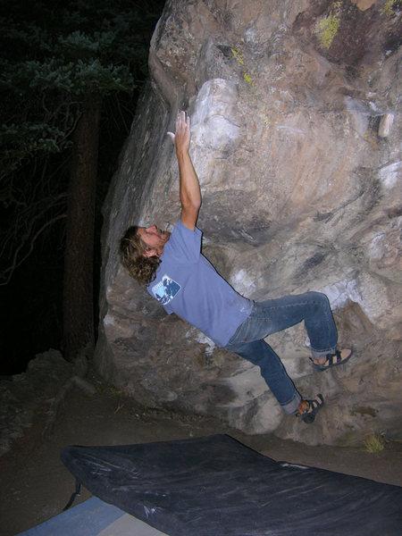 Rock Climbing Photo: Christian Prellwitz sticking the crux deadpoint on...