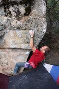 Rock Climbing Photo: Damon Johnston 'Black & Tan Arete' (V5).