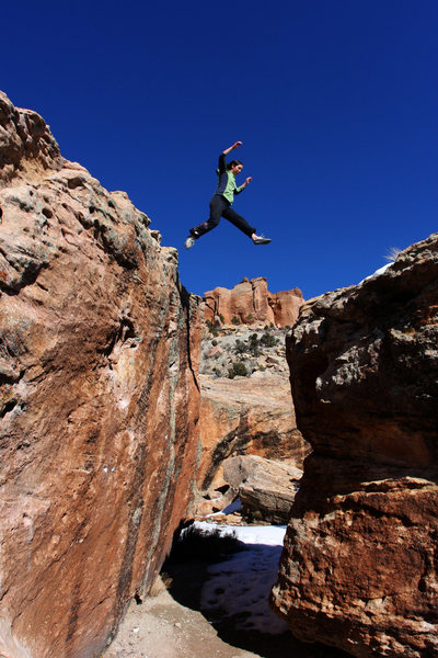 Rock Climbing Photo: Lexi Tuddenham demonstrating the optional way to g...