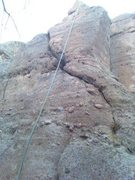 Rock Climbing Photo: Another pic of the crack from the bottom. Crux is ...