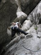 Rock Climbing Photo: The P girl steps up on Lazarus