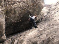 Rock Climbing Photo: Patty goes up the big corner on Lazarus