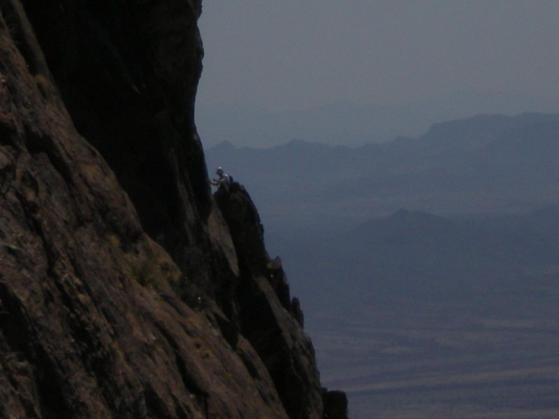 "Rock Climbing Photo: A climber at the base of P2's ""thirty foot ve..."