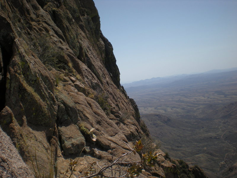 Rock Climbing Photo: The route as viewed from the SW Face.  There is a ...