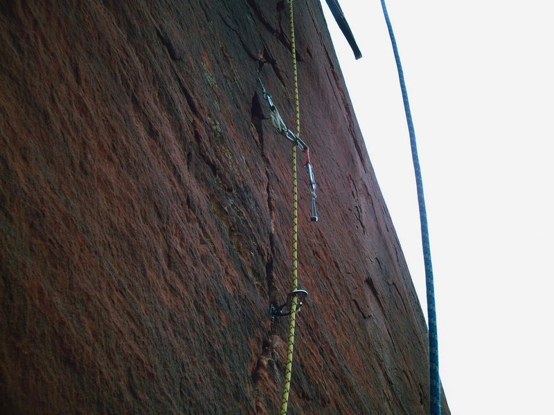 Rock Climbing Photo: Popped nut....oops! Pitch 9