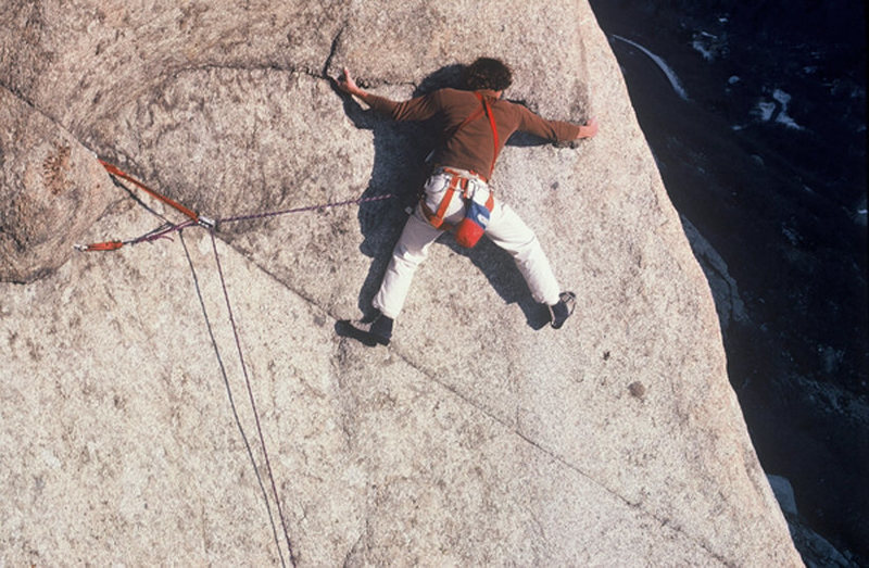The late Steve Carruthers on an early ascent (1981). Here is one of the the routes several cruxes. The infamous mantle is higher up. Photo courtesy of Les Ellison.