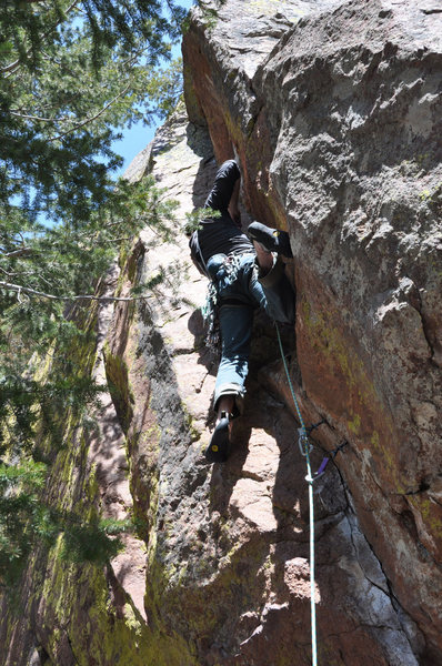 Dave just after the crux start.