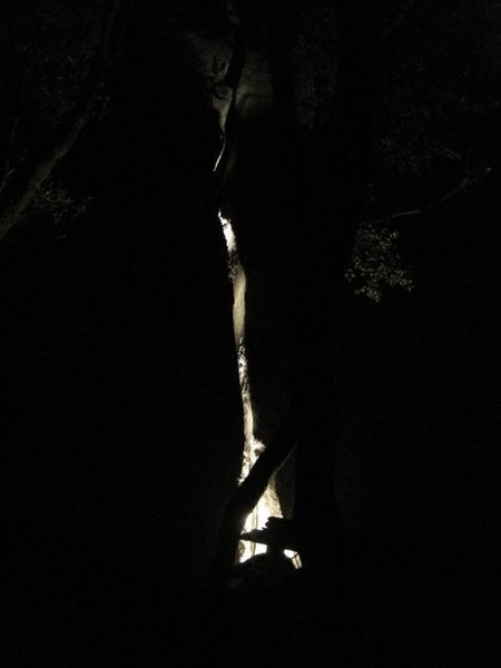 Far away night shot. We put a big light inside the crack at the bottom