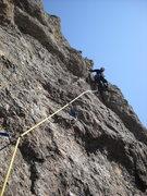 "Rock Climbing Photo: EJ at the 5th bolt of P1 ""How To Kill A Bear ..."