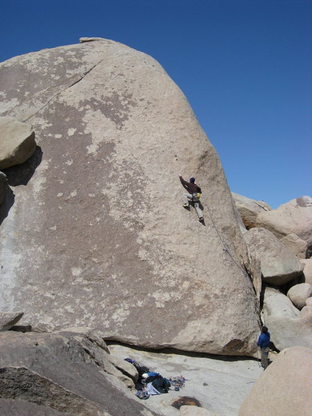 Rock Climbing Photo: Randy working the crux smears.
