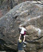Rock Climbing Photo: Ani working up the bulges.