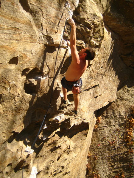 Rock Climbing Photo: Clipping the second bolt