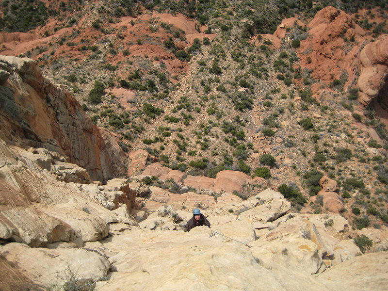 Rock Climbing Photo: Pitch 4 action shot of Byron and the exposure belo...