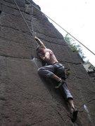 Rock Climbing Photo: Big stretch for short climbers
