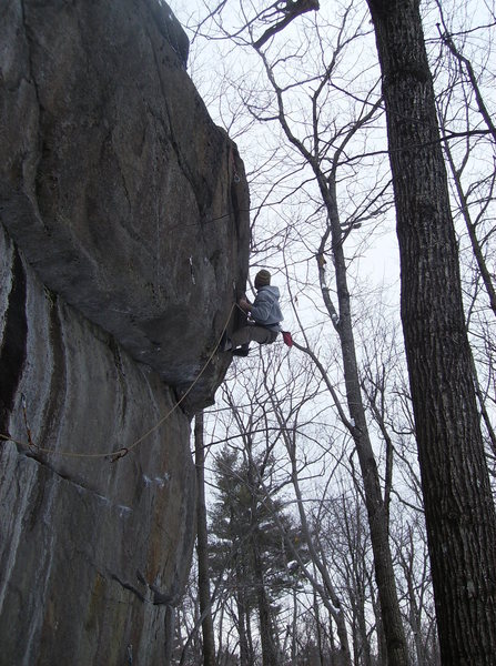 Rock Climbing Photo: Near the top of Traverse Route Right Finish