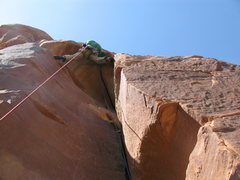 Rock Climbing Photo: Pulling the roof on p4 instead of traversing left ...