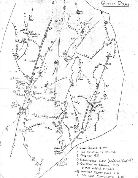 The Original Paul Horak Questa Topo.  Most of the major routes (as of 1988) are shown.