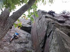 Climbing Wisconsin side at Interstate Park.