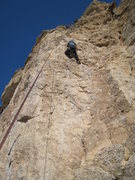 Rock Climbing Photo: The crux traverse out of the corner.
