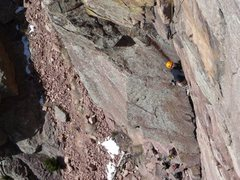 On the first pitch approaching the crux. Photo by Walter Leake.